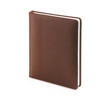 Ежедневник недатированный Velvet, А6+, коричневый, белый блок, без обреза, ляссе