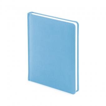Ежедневник недатированный Velvet, А6+, голубой, белый блок, без обреза, ляссе