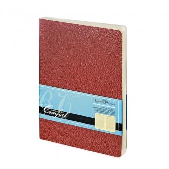 Ежедневник недатированный Comfort, А6, красный, бежевый блок, без обреза, ляссе