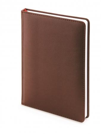 Ежедневник недатированный Leader, А6+, коричневый, белый блок, без обреза, ляссе