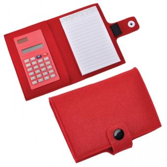 "Блокнот с калькулятором ""Soft"",красный,11х14х2см, фетр"