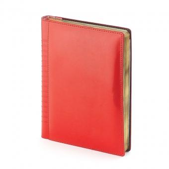 Ежедневник недатированный Image, А5, красный, бежевый блок, золотой обрез, ляссе