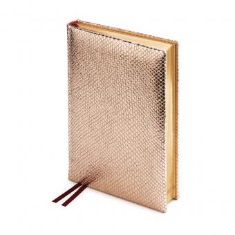 Ежедневник полудатированный Iguana, А5+, розовое золото,  бронзовый обрез, два ляссе