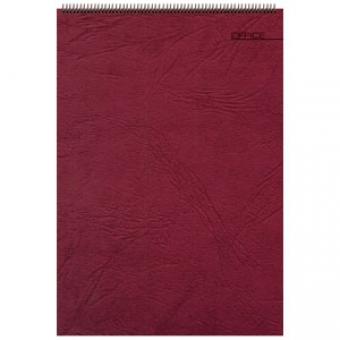 Блокнот Office бордовый, А5, 127х198 мм, верхний гребень, белый блок, клетка, 60 листов