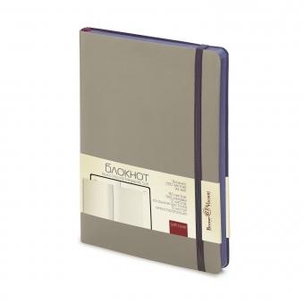 Блокнот без линовки Megapolis Soft, А5, серый, бежевый блок, контрастный с обложкой обрез, ляссе