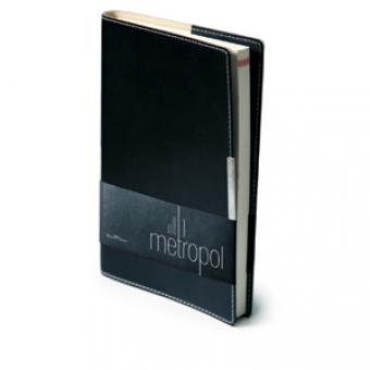 Ежедневник недатированный Metropol, А5, черный, бежевый блок, металлический шильдик, без обреза