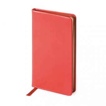Еженедельник недатированный Megapolis Velvet, А6, красный, бежевый блок, золотой обрез, ляссе
