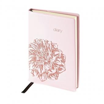 Ежедневник недатированный Flowers, А5, розовый, бежевый блок, без обреза, ляссе