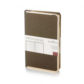 Ежедневник недатированный Bridge, А5, коричневый, бежевый блок, золотой обрез, ляссе