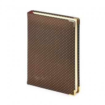 Ежедневник полудатированный Fashion, А5+, бронзовый, бежевый блок, золотой обрез, два ляссе