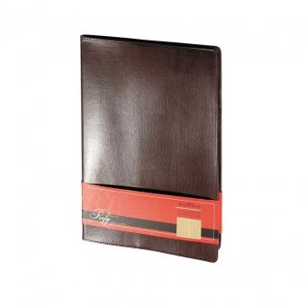 Еженедельник портфолио недатированный Profy, А4, коричневый, бежевый блок, золотой обреза, ляссе