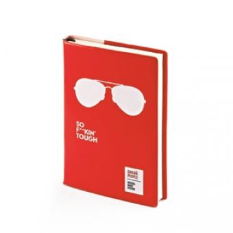 Ежедневник недатированный Crazy, А6, красный, бежевый блок, без обреза, ляссе
