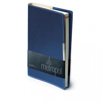 Ежедневник недатированный Metropol, А5, синий, бежевый блок, металлический шильдик, без обреза