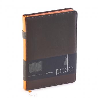 Ежедневник недатированный Polo, А5, серый, белый блок, оранжевый обрез, ляссе, шильд