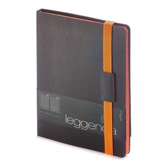 Ежедневник недатированный Leggenda, B5, черный, бежевый блок, оранжевый обрез, ляссе