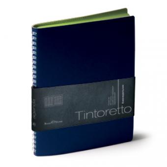 Еженедельник недатированный Tintoretto, B5, синий, белый блок, зеленый обрез