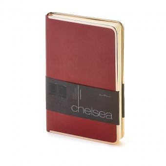 Ежедневник недатированный Chelsea, А5, бордовый, бежевый блок, золотой обрез, ляссе