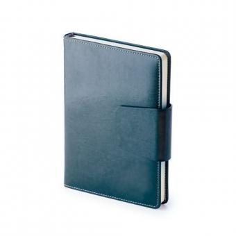 Ежедневник недатированный Prestige, А5, синий, бежевый блок, без обреза, ляссе, магнитный клапан