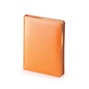 Ежедневник недатированный Sidney Nebraska, А6+, оранжевый, белый блок, золотой обрез, ляссе