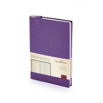 Ежедневник недатированный Trend, фиолетовый, А5, бежевый блок, без обреза, ляссе