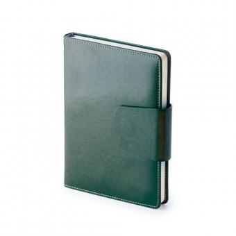 Ежедневник недатированный Prestige, А5, зеленый, бежевый блок, без обреза, ляссе, магнитный клапан