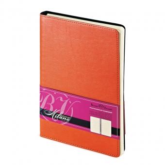 Ежедневник недатированный Milano, А5, оранжевый, бежевый блок, без обреза, без ляссе