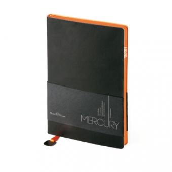 Ежедневник недатированный Mercury, А6, черный, белый блок, оранжевый обрез, два ляссе