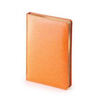 Ежедневник недатированный Sidney Nebraska, А5, оранжевый, белый блок, золотой обрез, ляссе