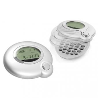 Калькулятор-раскладушка: календарь, часы, будильник, конвертер валют; серебристый; 6,5х8х1,5 см; пла
