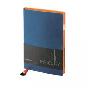 Ежедневник недатированный Mercury, А6, синий, белый блок, оранжевый обрез, два ляссе