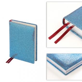 Ежедневник полудатированный Light Blue,  А6+, голубой, серебрянный обрез, два ляссе