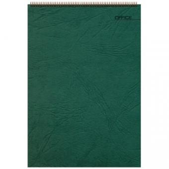 Блокнот Office зеленый, А5, 127х198 мм, верхний гребень, белый блок, клетка, 60 листов