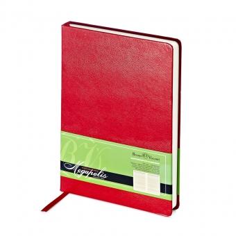 Ежедневник недатированный Megapolis, А5, красный, бежевый блок, без обреза, ляссе