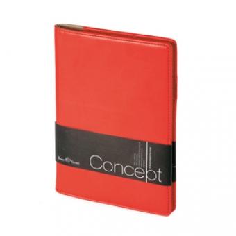 Еженедельник недатированный Concept, А5, красный, бежевый блок, без обреза