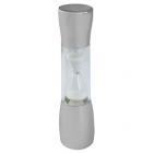 Часы песочные на 4 минуты; D=3,6 см; H=18 см; посеребренный металл, пластик; шильд