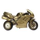"Часы ""Мотоцикл"", цвет - бронзовый, 12,5х7,2,5 см; металл/ лазерная гравировка"