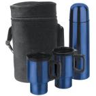 Набор в чехле: термос, 2 кружки с крышками; синий металлик; D=6,7 см; H=24,2 см; 500 мл; D=8,5 см; H