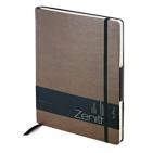 Ежедневник недатированный Zenith, коричневый, В5, бежевый блок, без обреза, ляссе, на резинке