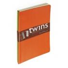 Набор блокнотов Twins (2 шт, оранжевый+зеленый), А5, бежевый блок, без обреза, ляссе, 40 листов