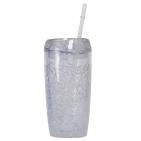 """Кружка охлаждающая  """"ICE""""  с соломинкой, в подарочной упаковке , 450 мл,  прозрачный, акрил, тампопе"""