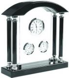Часы настольные с термометром и гигрометром; 19,5х6х20,5 см; дерево, стекло