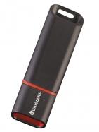 Флешка Uniscend Slalom 3.0, черная с красным, 16 Гб