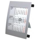 Календарь настольный на 2 года; серый с черным; 18х11 см; пластик; шелкография, тампопечать