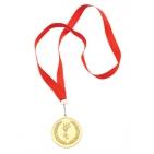 """Медаль наградная на ленте """"Золото""""; 48 см., D=5см.; текстиль, металл; лазерная гравировка, шелкограф"""