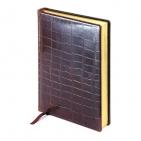 Ежедневник полудатированный PARLAMENT, А5+, коричневый, бежевый блок, золотой обрез, два ляссе, карт