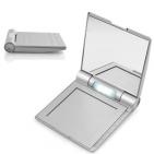 Фоторамка с зеркалом, диктофоном на 10 секунд и подсветкой; серебристый; 8,5х9,6х1,5 см; пластик; та