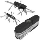 Нож многофункциональный с компасом и фонариком (12 функций); черный; 9х2х3,3 см; металл, резина