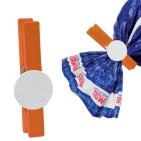 Зажим для сыпучих продуктов, оранжевый с белым, 7,5х1,4х1см,дерево