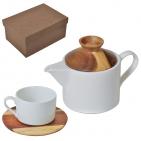"""Набор """"Andrew"""":чайная пара и чайник в подарочной упаковке, 200 мл и 600 мл, фарфор, дерево"""