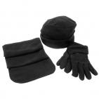 """Флисовый набор """"Metel"""" шапка, шарф, перчатки, черный, флис, 190 гр/м3"""